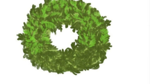 Colorful hand drawing Christmas wreath on a white background Animation