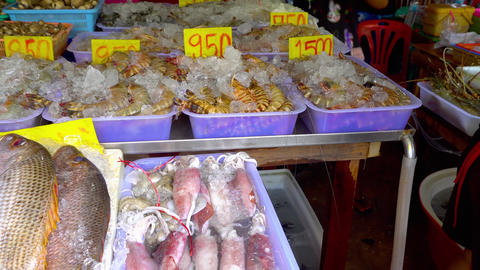 Fresh market Seafood in Thailand Live Action