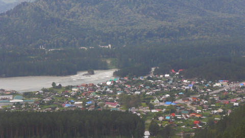 Aerial view of village in Altai mountains Footage