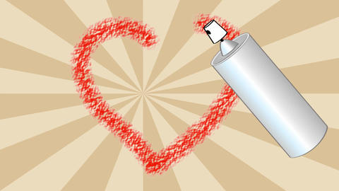 I love you video with sprayed red heart. Moving spray phial with headline, Valen Animation
