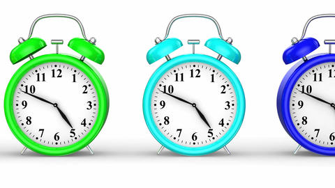 Colored Alarm Clocks Animation