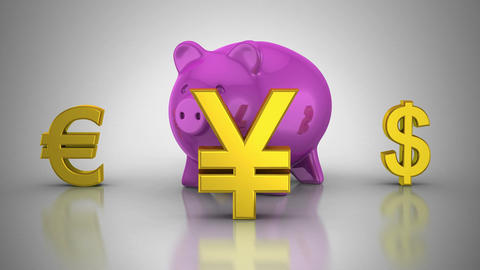 World Currencies Rotate Around Piggy Bank Animation