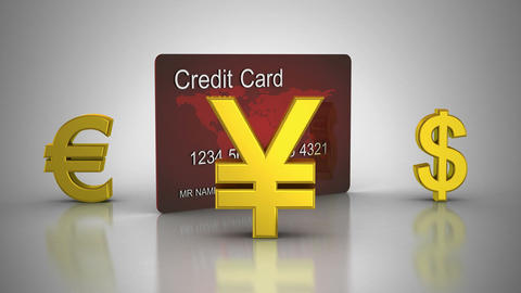 World Currencies Rotate Around Credit Card Animation