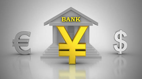 World Currencies Rotate Around Bank Animation