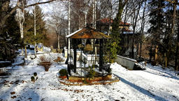 Dragalevsky Monastery, a Bulgarian Orthodox Church, bells in Winter Footage