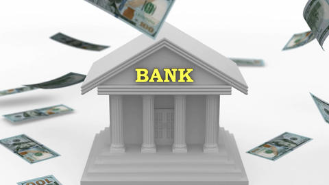 Money falling near the Bank Animation
