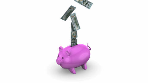 Money falling into a Piggy Bank Animation