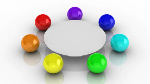 Round Table, colored balls chairs Animation