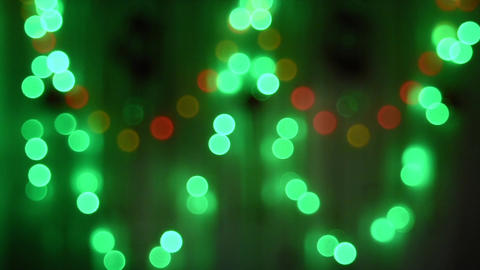 Blurred Background - Christmas garland flashing colorful lights Live Action