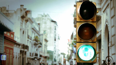 Traffic Lights In The City of Buenos Aires Footage