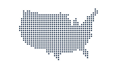 USA Dot Map. Concept for Networking, Technology and Connections. Motion Graphic Animation