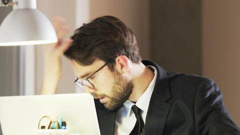 Frustrated Young Businessman During Work Footage