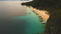 Tropical beach with boats, aerial view. Tropical island Footage
