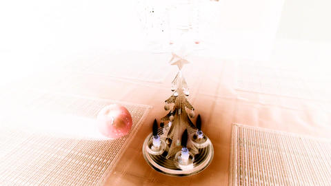 Christmas candle tree chimes with inversion filter Footage