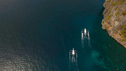 Motorboats on the sea, aerial view Footage