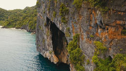 Beautiful tropical lagoon, aerial view. Cave in the rock Footage