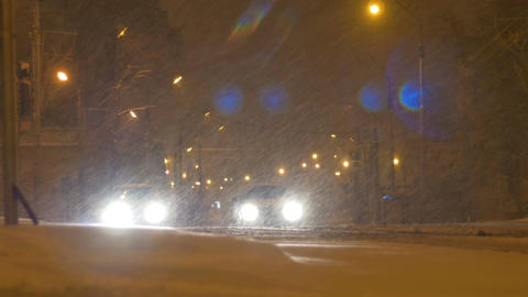 Stopped Cars on Snowing Night Footage
