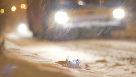 Night Snowing Traffic Footage