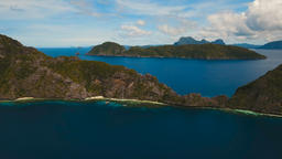 Tropical island and sandy beaches, aerial view. El Nido Footage