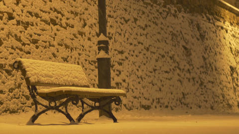 Snowing Night Bench Footage