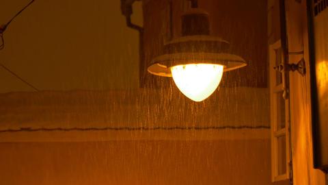 Outdoor Night Snowy Lamp Footage