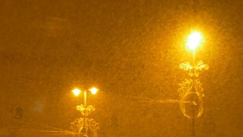 Dense Snowing Night Footage