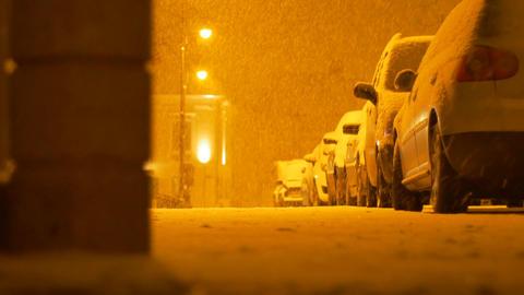 Snowing Night Street Footage