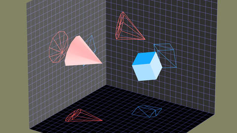 Descriptive geometry 3D projection seamless loop with inversion filter
