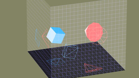 Descriptive geometry 3D projection seamless loop with inversion filter Animation