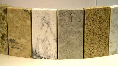 Kitchen countertops, samples, colors, granite, marble, quartz Footage