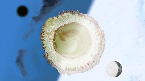 Tiny planet world panorama in day and night with inversion filter Animation