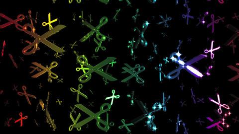 Looping Rainbow Scissors Symbols Falling Stock Video Footage