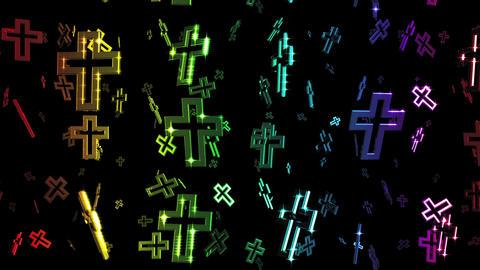 Looping Rainbow Cross Symbols Falling Animation