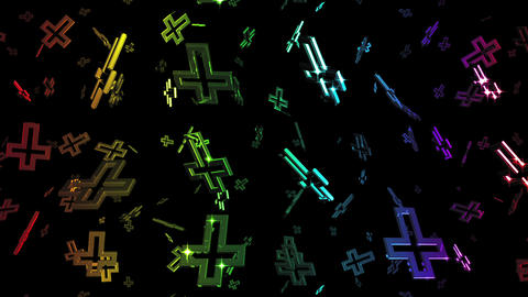 Looping Rainbow Cross Symbols Falling Stock Video Footage