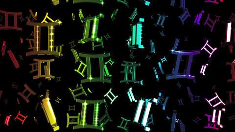 Looping Rainbow Zodiac Gemini Symbols Falling Animation