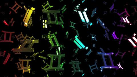 Looping Rainbow Zodiac Gemini Symbols Falling Stock Video Footage