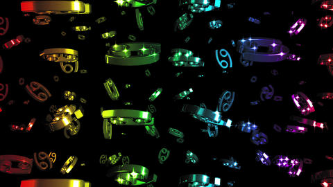 Looping Rainbow Zodiac Cancer Symbols Falling Stock Video Footage