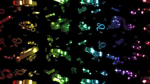 Looping Rainbow Zodiac Leo Symbols Falling Stock Video Footage
