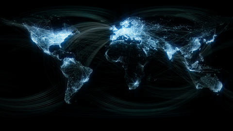 Glowing Network Lines Lighting Up World Map Animation
