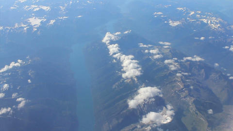 Aerial View Of A Skinny Lake In Canadian Rocky Mountains Stock Video Footage
