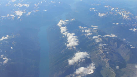 Aerial View Of A Skinny Lake In Canadian Rocky Mountains stock footage