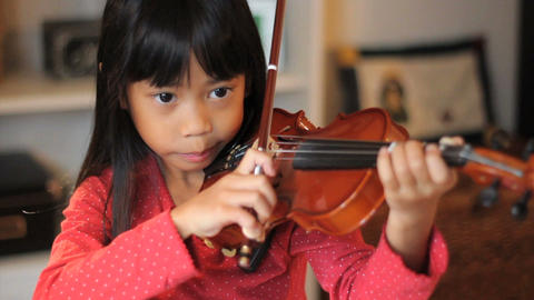 Asian Girl Practices Her Violin High Angle Stock Video Footage
