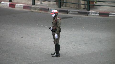 Bangkok Traffic Police Officer Stock Video Footage