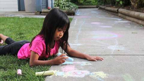 Cute Asian Girl Doing Sidewalk Art Stock Video Footage