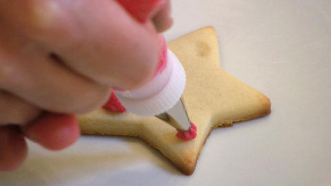 Decorating Christmas Cookie Stock Video Footage