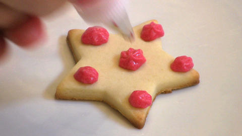 Decorating Christmas Cookie stock footage