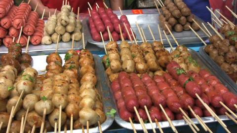 Delicious Food On Skewers Stock Video Footage