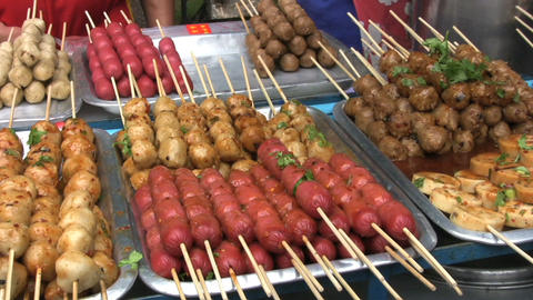 Delicious Food On Skewers stock footage