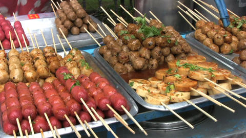 Delicious Food On Skewers Stock Video Footage