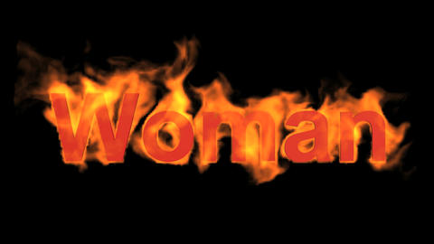flame woman word,fire text Animation